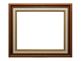 Vintage picture frame, wood plated, white background