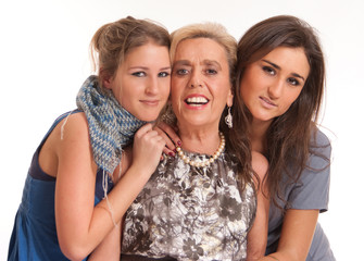 Teenagers with grandmother