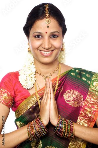 Tradional indian woman greeting namaste stock photo and royalty tradional indian woman greeting namaste m4hsunfo