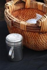 A confectioner sugar shaker at a restaurant