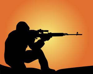 Fotorolgordijn Militair silhouette of a sniper
