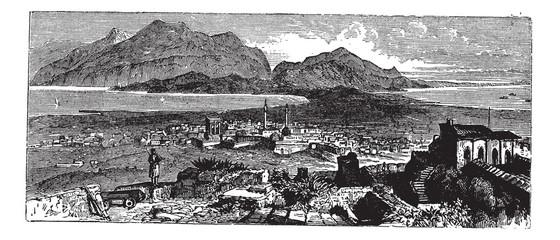 Acrocorinth in Corinth, Greece, vintage engraving