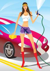 Car wash - sexy fashion model