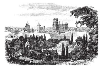 Gdansk in Pomerania, Poland, vintage engraving