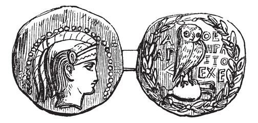 Tetradrachm from Athens or Greek Silver Coin, vintage engraving