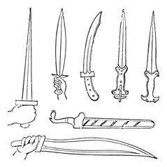 Greek Swords, vintage engraved illustration