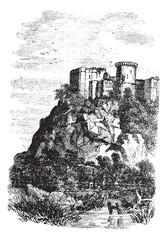 Falaise Castle in Normandy, France, vintage engraving