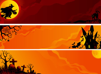 Three  vector helloween banners with witch, bats.