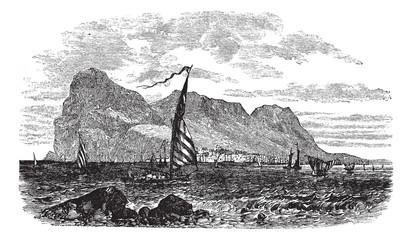 Gibraltar in Iberian Peninsula Europe vintage engraving
