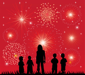 vector children silhouettes and fireworks