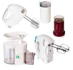 Set of  household appliances on white