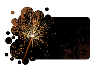 Realistic sparkling firecracker on a black background