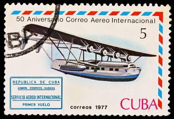 CUBA - CIRCA 1977: Aniversario Correo Aereo Internacional