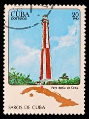 CUBA - CIRCA 1983: Faros  de Cuba, faro Bahia de Cadiz
