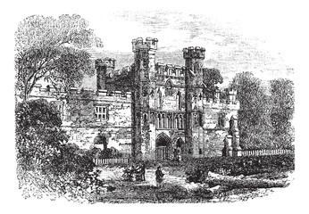 Battle Abbey, Hastings, East Sussex, England vintage engraving