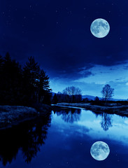 night scenery with river and the moon