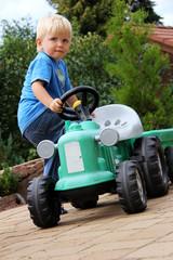 little boy with tractor