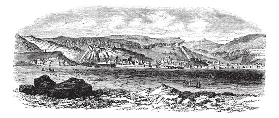 Landscape and mountains at Kars, Turkey vintage engraving