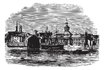 Waterfront at Kingston, Canada vintage engraving