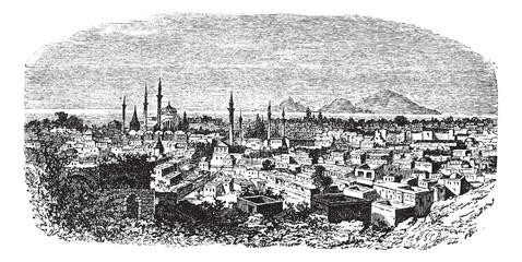 Konieh or Koniah city anciently known as Iconium vintage engravi