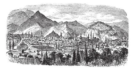 Kütahya or Kotyaion or Cotyaeum city view, Western Turkey vintag