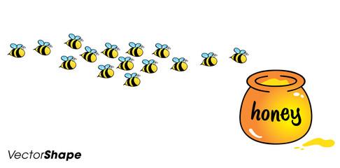 Cartoon bees flying toward the honey jug