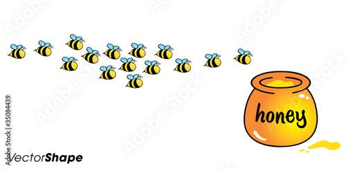 quot cartoon bees flying toward the honey jug quot  stock image and Bee Vector Art Bee Outline Vector