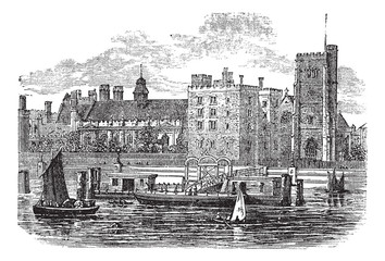 Lambeth Palace, London vintage engraving