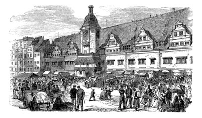 City Hall and market place in Leipzig, Germany, vintage engravin