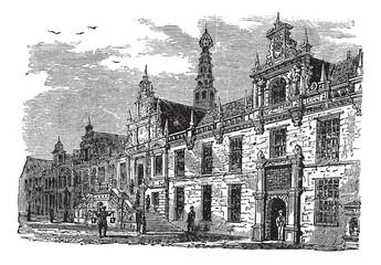 Leiden city hall, Netherlands, vintage engraving