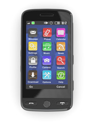 Black mobile phone. 3d