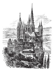Cathedral of St. George, Limburg-On-The-Lahn vintage engraving