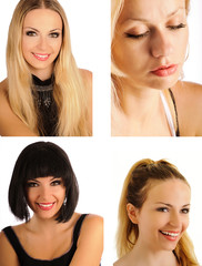 Beautiful girls women collage set isolated
