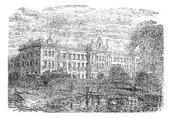 Buckingham Palace or Buckingham House in London England vintage