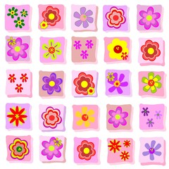 Background collection of simple individual floral illustrations