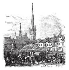 Market Place of Lubeck Germany vintage engraving