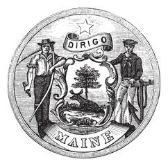 Great Seal of the State of Maine, United States, vintage engravi