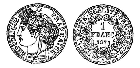 Piece of silver 1 franc, vintage engraving