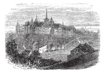 Chateau du Val-Boury in Neufchatel-en-Bray, France, vintage engr