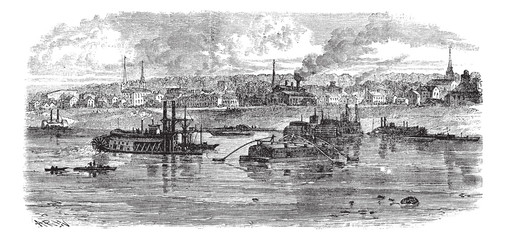 New Albany in Indiana, USA, vintage engraved illustration