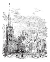 Trinity Cathedral in Newark, New Jersey, USA, vintage engraved i
