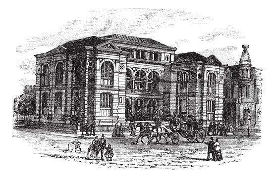 Lenox Library in Massachusetts, USA, vintage engraved illustrati
