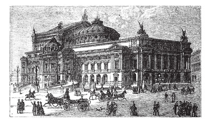 The new opera in Paris, France, late 1800s, vintage engraving