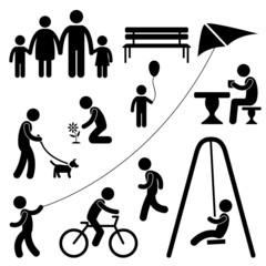 Man Family Children People Garden Park Activity Symbol Pictogram