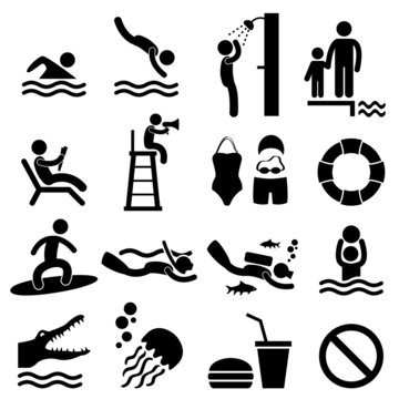 Man People Swimming Pool Sea Beach Sign Symbol Pictogram Icon