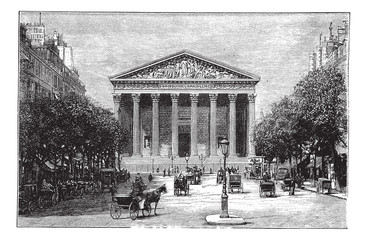 Madeleine Church and Rue Royale in Paris France vintage engravin