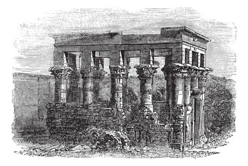 Temple of Isis at Philae, vintage engraving