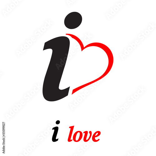 """Logo i love, person on the heart # Vector"" Stock image ..."