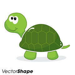 Happy little cartoon turtle vector illustration
