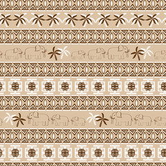 Seamless patterns with elephants and palms
